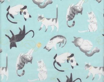 Clothworks Organic Here Kitty Kitty Play Time in Aqua - Half Yard