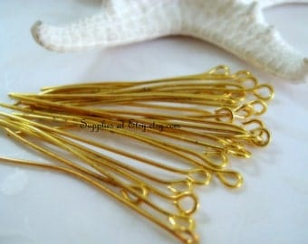 Sale 200 Gold Eye pins 35mm-Brass Gold headpins Findings-Jewelry findings-Wholesale Rosary Components-Lot Eye pins supplies-Jewelry Supplies
