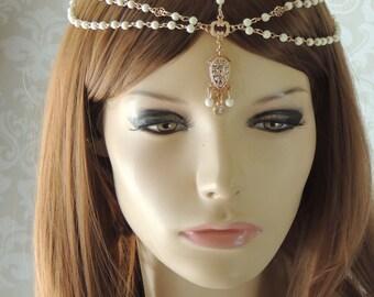 Wedding boho headband, Bohemian Bridal Headpiece,Bridal Hair Accessories, bride headpiece