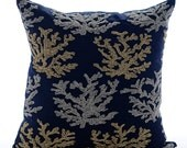 Decorative Throw Pillow Covers Accent Pillow Couch Toss Sofa Pillow 16x16 Navy Blue Linen Pillow Cover Bead Embroidered Sea Weeds Swim