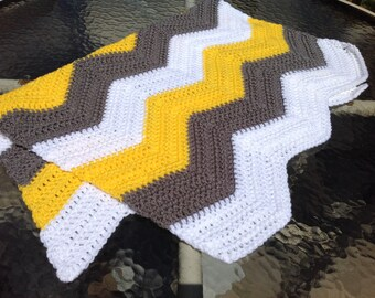 Chevron blanket hand-crocheted for baby