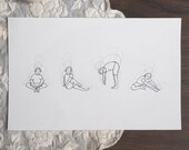 Let it out | Yoga stretching illustration postcard printed on recycled cotton paper