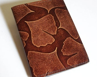 Leather Top Stub Checkbook with Ginkgo Leaf Design - Leather Checkbook Holder