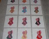 """Set of 12 Applique  6"""" x 6""""  Quilt Blocks  ... Sunbonnet Sue with Mauve/Pink"""