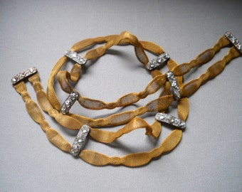 SALE - Antique Edwardian Style Wedding Dress Mesh Women's Belt - Goldtone with Rhinestone Belt Buckle - Victorian Jewelry