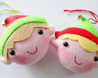 Felt Christmas Elf Ornament Softies - Sewing Pattern - Tutorial - PDF ePATTERN