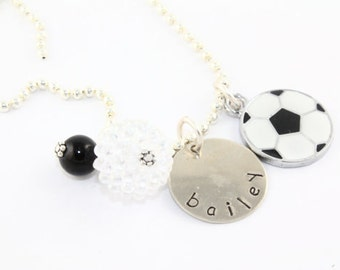 Soccer Personalized Charm Necklace for Children - Hand Stamped Custom Necklace for Girls