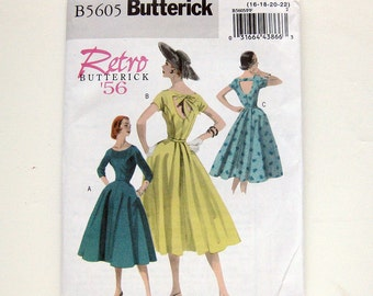 Retro Sewing Pattern Misses' Full Skirt New Look Open Back Party Dress / Sizes 16-22 / Butterick B5605 / UNCUT FF