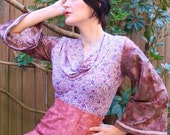 Purple Top, Floral V Neck Knit Jersey Top, Fashion Blouse w Cowl Neck, Long Sleeve w Cuff, Printed Body, Flared Sleeve, Made In Australia