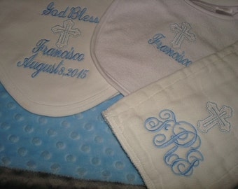 Francisco Personalized Baptism Blanket Bib and Burp Cloth Christening Blanket Bib and Burp Set-Choice of Name and/or upto 3 Initials