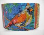 Red Robin Cuff Bird Cuff Decoupage Cuff Bracelet