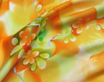Vintage Japanese Kimono Silk Blossom Flower Branches and Leaves on Shaded Yellow, Orange and Green 60ins