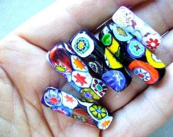 BEAD, VINTAGE, MURANO, Focal, Mosaic, Tube, Multi, Color, Choice, Glass