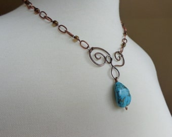 Artisan Copper Necklace. Hand Forged Copper Swirl Necklace with Turquoise Pendant
