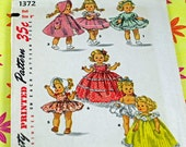 "Vintage Antique Doll Pattern, 1950s Pattern For 8"" Dolls Including Ginny, Muffy, Alexander-kins Seven Adorable Outfits  #54"
