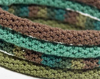 Crochet Bracelet Fiber Bangle Bracelet Fine Thread Icord Rope Bracelet Fudge Brown Fern Green Olive Crochet Jewelry Non Metalic Stackable