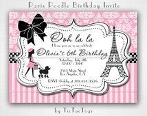 Pink Paris Poodle Bow Eifel Tower Birthday Party Invitations Invite You Print Personalized Damask Stripe Customized 5x7 or 4x6