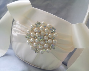 Ivory Flower Girl Basket Flower Girl Basket Pearl Rhinestone Accent Wedding Basket Unique