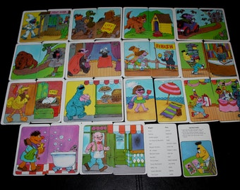 1982 Sesame Street see and know Going Places Game Cards