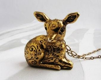 Deer Locket Necklace, perfume locket necklace, animal jewelry, animal locket fawn locket necklace, secret compartment necklace