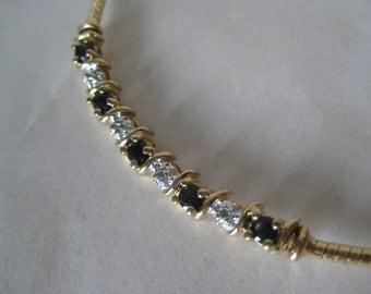 Sapphire Blue Clear Stone Gold Sterling Vermeil Necklace Vintage 925 Silver