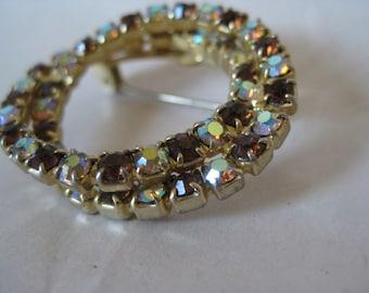 Aurora Rhinestone Amber Brooch Gold Vintage Pin AB