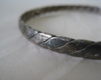 Twist Sterling Bangle Bracelet Vintage Silver 925 Mexico