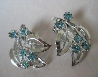 Flower Blue Silver Earrings Clip Rhinestone Vintage