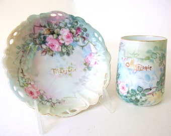 Vintage Hand Painted Roses on Berry Bowl and Mug - RC Lion D'or Bavaria