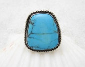 Turquoise Sterling Ring Vintage Bohemian Jewelry Size 6 R6719