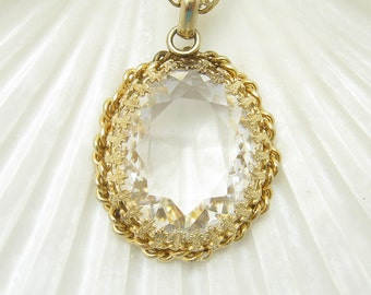 Large Vintage Pendant Necklace Clear Stone Jewelry N6703