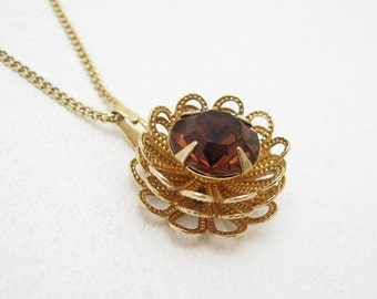 Tall Vintage Pendant Necklace Marigold Coventry Jewelry N6754