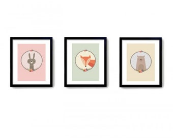 Woodland Animals Trio Print Wood land Nursery Print