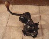 FREE SHIPPING....Cast iron coffee mill/grinder with hand crank- old, beautiful