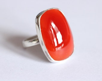 Rectangle ring - Carnelian ring - Carnelian Jewelry - Sterling silver - gemstone ring - Gift for her