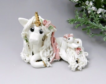 Unicorn Christmas Ornament Figurine Pink Roses Porcelain OOAK