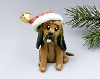 Bloodhound Ornament Christmas Figurine Santa Hat Porcelain