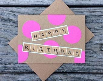 Happy Birthday Scrabble Polka Dot Card