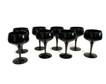 Eight black crystal goblets - FREE SHIPPING - Morgantown Vision Ebony champagne coupe glasses or sherbet goblets