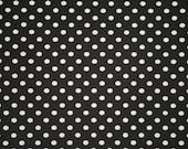 Black with white dots knit cotton spandex jersey  1 yard