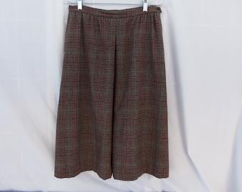 Vintage 1960's Pendleton Rust & Black Plaid Skirt
