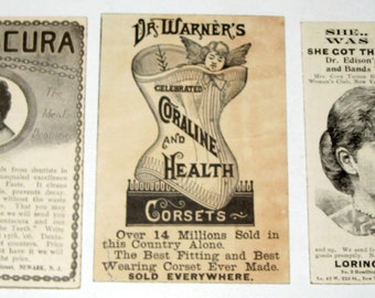 3 Antique Ads Mounted on Chipboard - Beauty Products - Corsets, Toothpaste, Obesity Pills, etc.