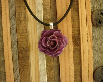 """Real Flower Necklace - small Purple Rose Bloom on18"""" black cord.  Floral love garden soul sister organic plant life botany bride style gift"""