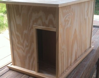 Large Kat Litter Kabinet - UNFINISHED - Litter & Odor Control - Dog and Child Proof - Plant Stand, TV Stand