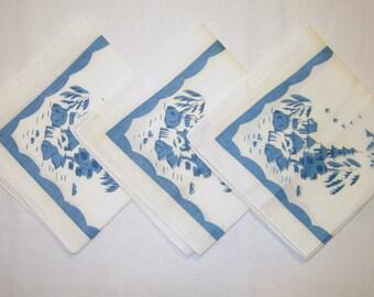 Vintage Asian Themed Napkin Trio Beautiful Blue Village Scene MINT
