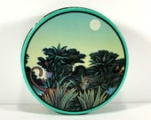 Vintage Round Tin, Jungle, Leopard, Full Moon, Henri Rousseau Style