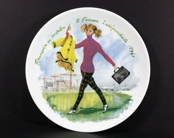Vintage French Collectible Plate - Francoise en Pantalon 1960, Limoges, French Womens' Fashion, Women of the Century, R. Ganeau