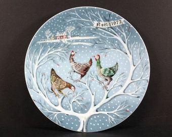 Vintage 1972 Christmas Plate, Noel 1972, Haviland Limoges, Three French Hens