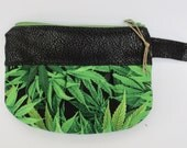 Cannabis Medical Pouch - Colorado MMJ - Pot leaf Zip Pouch - Mary jane Pouch - Toke Bag - Vegan Leather