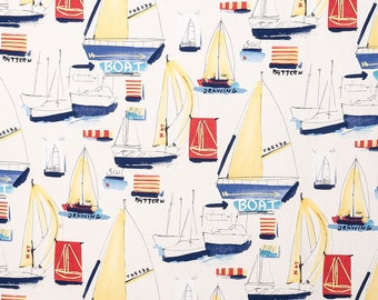 "Nautical Window Curtains, Sailboat Curtain Panels, Boys Red Blue Drapes, Nautical Home Decor, Mariner Curtains, Rod-Pocket 50""W, One Pair"